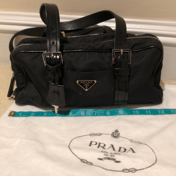 3473987cb7f103 Prada Bags | Nylon Leather Shoulder Bag W Lock Key | Poshmark